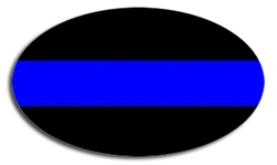 Reflective Thin Blue Line Police Oval Decal