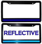 Double Reflective Thin Blue Line License Plate Frame