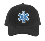 Deluxe Black EMS Star of Life  Low Profile Baseball Cap