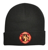 Deluxe Black Fire Maltese Cross Embroidered Beanie