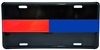 EMS/Fire/Police/ Half Red and Half Blue Line Metal License Plate