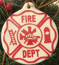 Firefighter Porcelain Ornament