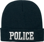 Deluxe Black Police Embroidered Beanie
