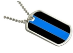 Police Reflective Thin Blue Line Dog Tag