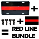 Thin Red Line License Plate Bundle Package