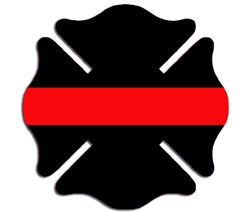 Reflective Thin Red Line Maltese Cross Decal