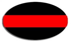 Reflective Thin Red Line Police Oval Decal
