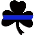 Reflective Thin Blue Line Shamrock Decal