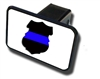 Relfective Thin Blue Line Police Shield Hitch Cover