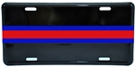 Fire/Police Red Line and Blue Line Striped Metal License Plate