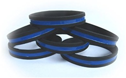 10 Pack Thin Blue Line Wristbands