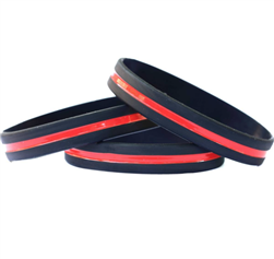 10 Pack Thin Red  Line Wristbands