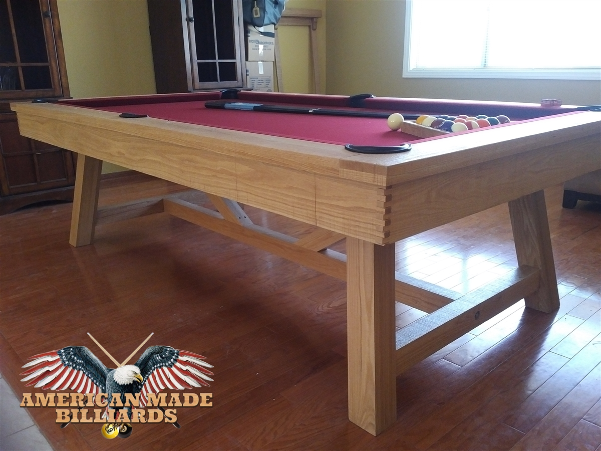 Modern White Oak Rustic Picnic Pool Tables - Rustic modern pool table