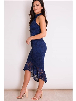 Navy Lace Dip Hem Dress