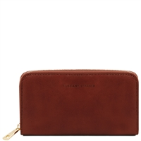 Tuscany Leather TL141206 Zippered brown leather wallet for women