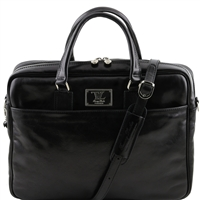 Tuscany Leather TL141241 Urbino Laptop Bag - Black