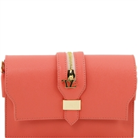 TL Saffiano Leather Clutch - Coral