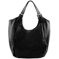 Tuscany Leather TL141537 Gina Leather Hobo Bag - Black