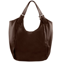 Tuscany Leather TL141537 Gina Leather Hobo Bag - Dark Brown