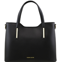 Tuscany Leather TL141412 Ruga Leather Tote - Black