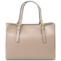 Tuscany Leather TL141434 Ruga Leather Handbag - Taupe