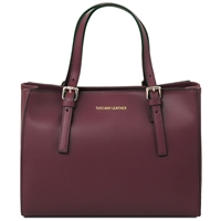 Tuscany Leather TL141434 Ruga Leather Handbag - Bordeaux