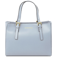 Tuscany Leather TL141434 Ruga Leather Handbag - Light Blue