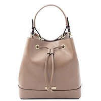 Tuscany Leather TL141436 Saffiano Leather Secchiello Bag - Taupe