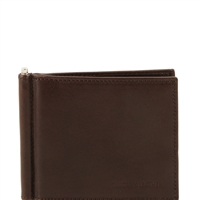 Tuscany Leather TL141501 Men's Exclusive leather Wallet With Money Clip - Dark Brown