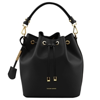 Tuscany Leather TL141531 Ruga Leather Bucket Bag - Black