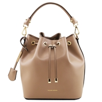 Tuscany Leather TL141531 Ruga Leather Bucket Bag - Taupe