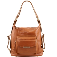TL141535 Convertible Leather Bag - Cognac