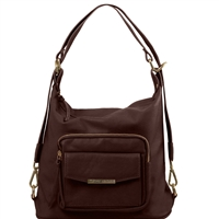TL141535 Convertible Leather Bag - Dark Brown