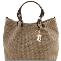 Tuscany Leather Woven Leather Bag TL141568 - Taupe