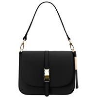 Tuscany Leather TL141598 Nausica Ruga Leather Shoulder Bag - Black