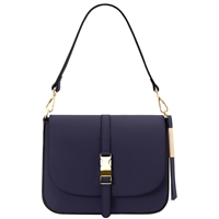 Tuscany Leather TL141598 Nausica Ruga Leather Shoulder Bag - Blue