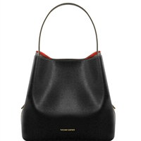 TL1411613 Saffiano Leather Bucket Bag with inside clutch by Tuscany Leather in black