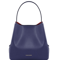 TL1411613 Saffiano Leather Bucket Bag with inside clutch by Tuscany Leather in blue