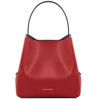 TL1411613 Saffiano Leather Bucket Bag with inside clutch by Tuscany Leather in Red