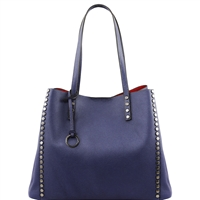 TL141624 Soft Leather Shopping Bag- Blue