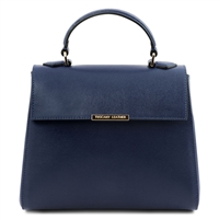 TL141628 Small Saffiano Leather Duffel Bag by Tuscany Leather Blue