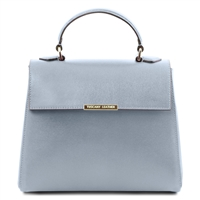 TL141628 Small Saffiano Leather Duffel Bag by Tuscany Leather Light Blue