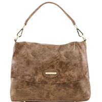 Tuscany Leather TL141637 Aged Effect Leather Handbag Dark Taupe