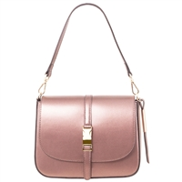 Tuscany Leather TL141642 Nausica Ruga Leather Shoulder Bag in Metallic Pink