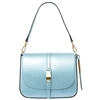 Tuscany Leather TL141642 Nausica Ruga Leather Shoulder Bag in Metallic Blue