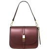 Tuscany Leather TL141642 Nausica Ruga Leather Shoulder Bag in Metallic Bordeaux
