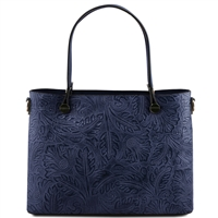 Tuscany Leather TL141655 Atena Leather Tote - Dark Blue