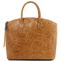 TL141670 Gaia Leather Tote with Floral Pattern Cognac