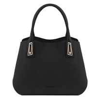 TL141694 Flora Leather Handbag by Tuscany Leather Black