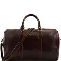 Oslo TL1044 Travel leather duffle bag - Weekender bag - Brown